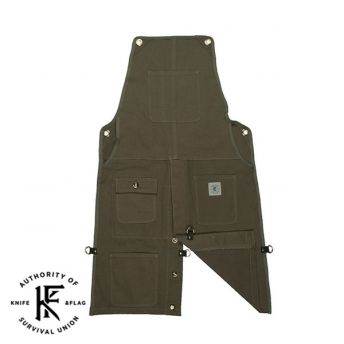 Knife & Flag -  Split Leg Olive Shop Apron