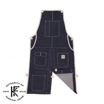 Split Leg Blue Denim Shop Apron