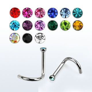 Nose Screw 1mm Polished Stainless Mixed Jewel (5)