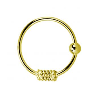 18k Gold Plated Sterling Silver .08 x 10mm Nose Hoop