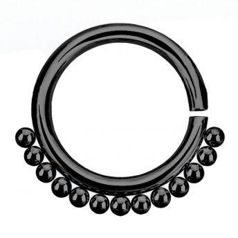 ANNEALED Septum Ring Black Beaded (5) 1.2x8mm