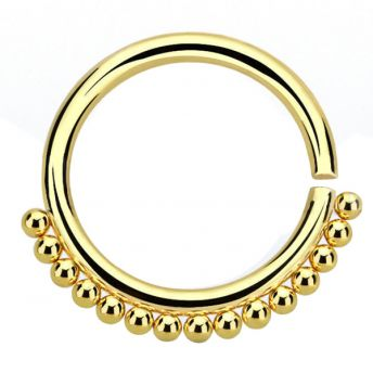 ANNEALED Septum Ring Gold Beaded (5) 1.2x8mm