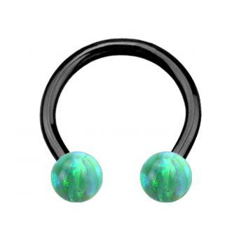 ANODISED TITANIUM Circular Barbell Green Opal (1) 1.2x10mm