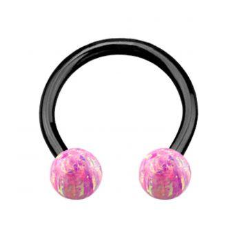 ANODISED TITANIUM Circular Barbell Pink Opal (1) 1.2x10mm