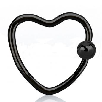 SURGICAL STEEL Anodised Daith Heart BCR Black (5) 1.2mm
