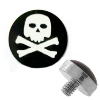 TITANIUM Dermal Top Skull X Bones (5) 1.2x4mm