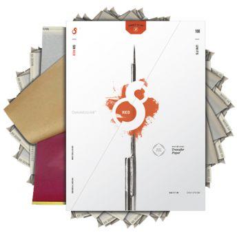 S8 A4 Stencil Paper RED 100