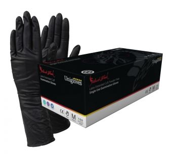 Select Black LONG CUFF Latex Gloves S