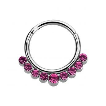 SURGICAL STEEL Septum Ring Rose Crystals (1) 1.2x8mm