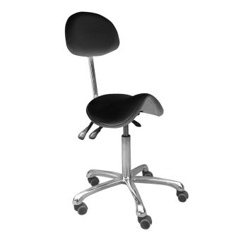 Saddle Stool with Backrest BLACK