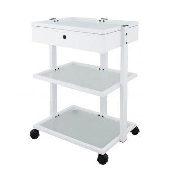 Luxury 3 Tier Trolley with Drawer and Mag Lamp Holder White