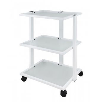 Luxury 3 Tier Trolley with Mag Lamp Holder White