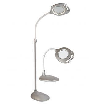 2 in 1 LED Magnifier Silver Floor and Table Lamp