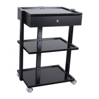 Three Tier Glass Shelved Trolley With Drawer -  BACK IN STOCK MID JAN 2021