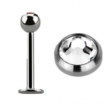 Stainless Clear Jewel Labret Studs 1.6mm