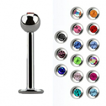 Stainless Mixed Jewel Labret Studs 1.6mm