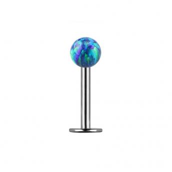 Opal Titanium Labret Studs 1.2mm - Dark Green