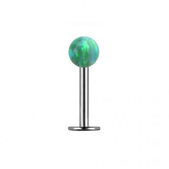 Opal Titanium Labret Studs 1.2mm - Green