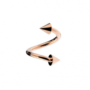 Stainless Coned Rose Gold Eyebrow Spiral 1.2mm