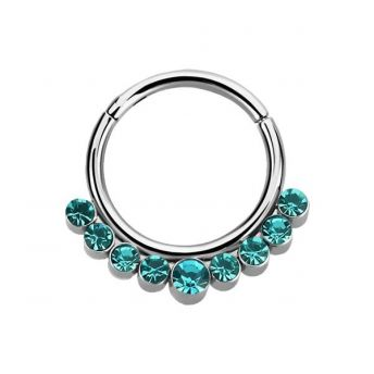 Stainless Septum Ring Blue Zircon Crystal 1.2mm