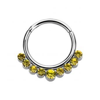 Stainless Septum Ring Citrine Crystal 1.2mm