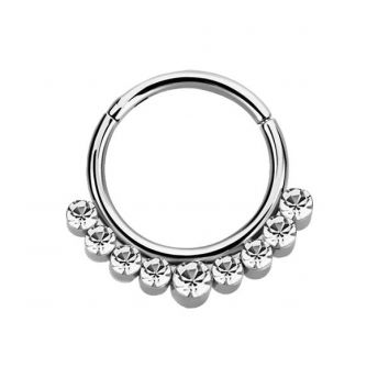 Stainless Septum Ring Clear Crystal 1.2mm