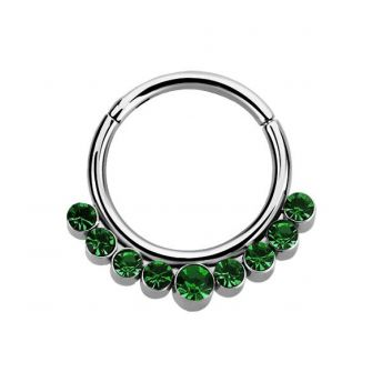 Stainless Septum Ring Emerald Crystal 1.2mm
