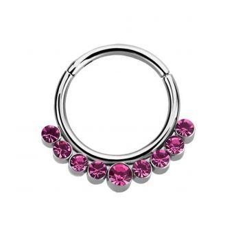 Stainless Septum Ring Rose Crystal 1.2mm