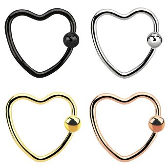 Stainless Daith Heart BCR 1.2mm
