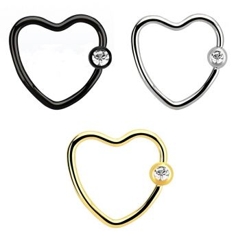 Stainless Jewelled Daith Heart BCR 1.2mm