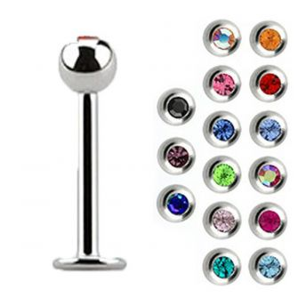Stainless Mixed Jewel Labret Studs 1.2mm